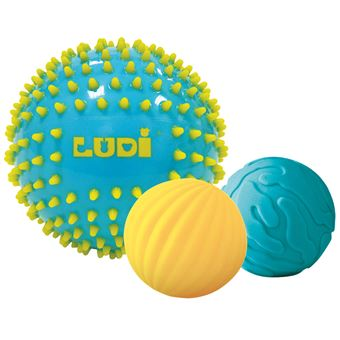 Trois balles sensorielles bleues Ludi
